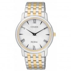 As part of the Citizen Eco-Drive Stiletto Range, the Men's Citizen Eco-Drive Stiletto Watch has a very smart ultra slim design. Made with a two tone bracelet and a classic clear roman numeral display.