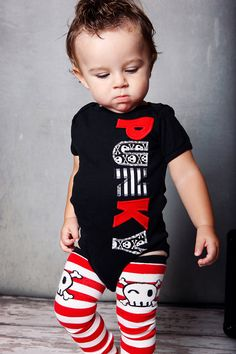 Little Punky Onesie - Leg Warmer Set - Red Black White Stripe Skull. $28.00, via Etsy.