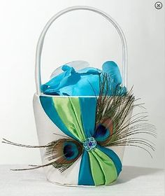 The Peacock Flower Girl Basket will complete the look of your peacock wedding theme! This blue flower girl basket is adorned with a vibrant peacock feather. Wedding Reception Flowers, Blue Wedding Flowers, Peacock Wedding, Wedding Ceremony, Ribbon Wedding, Wedding Colors, Peacock Flower Girl, Peacock Theme, Flower Girls