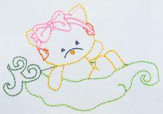 Color work Kitty in a peapod machine embroidery Pea Pods, Applique Designs, All Design, Machine Embroidery, Patches, Kitty, Artwork, Color, Colour