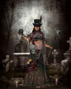 Madame Brigitte by RoseofDisdain.deviantart.com on @DeviantArt. Maman Brigitte, as she is often called, is the female Guardian of Graves, a powerful magical Loa of cemeteries, and is said by some to be the wife of Baron Samedi.