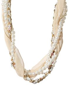 rue 21 fabric twist pearl necklace