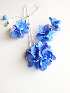 Hydrangea jewelry set bridesmaid jewelry set by AlishaVovkJewelry
