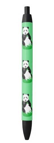 Panda Bears Green and Black Pens; ArtisanAbigail at Zazzle
