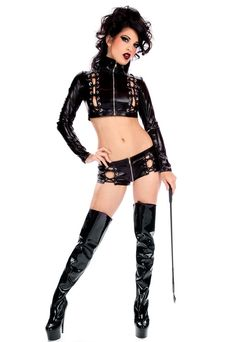 Wetlook Shorts Leather Outfit Feitsh Vampire Vamp Cyber Goth Metal Lingerie Glam in Women's Costumes | eBay