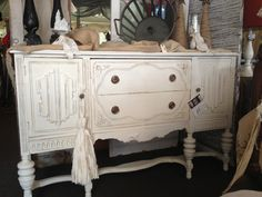 Buffet painted in Home Plate, distressed & sealed with Top Coat. https://www.facebook.com/jodiecurtaincall