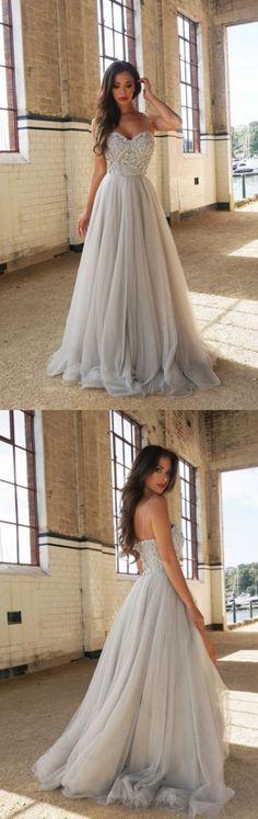 Grey Wedding Dresses, Long Prom Dresses, Sleeveless Prom