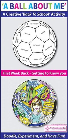 Back to School Fun Art 'All About Me' Soccer Ball Doodle Activity 'A Ball About Me', a fun first week back to school art activity. This soccer ball template invites children to respond to prompts in a personal, imaginative way using doodles, mark making, First Day Of School Activities, 1st Day Of School, Beginning Of The School Year, School Fun, Art School, School Hacks, Middle School, Back To School Ideas For Teachers, Back To School Crafts For Kids
