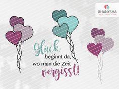 Glück beginnt da, wo man die Zeit vergisst. So wahr und so schön! Dazu passend ein paar Herzballons, jeweils mit und ohne Outline. Von mir gezeichnet und digital umgesetzt.