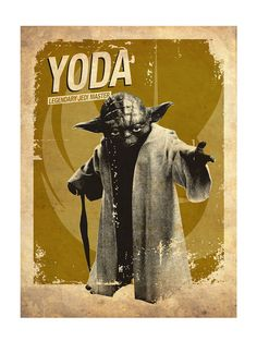 Star Wars Yoda Vintage Silhouette Poster Print 11 by PosterEmpire