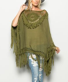 This Avenue Hill Olive Crocheted Poncho by Avenue Hill is perfect! #zulilyfinds