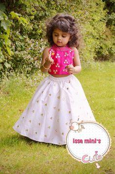 White mirror work skirt with pink sleeveless crop top – Issa Studio Kids Party Wear Dresses, Kids Dress Wear, Kids Gown, Dresses Kids Girl, Little Girl Outfits, Kids Outfits, Baby Dresses, Kids Frocks Design, Baby Frocks Designs