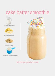 This Birthday Cake Smoothie is a creamy, dreamy, protein packed VEGAN shake you will be dying to make again and again for breakfast or a snack. High Protein Vegan Breakfast, High Protein Smoothies, High Protein Vegan Recipes, Protein Smoothie Recipes, Vegan Smoothies, Easy Smoothies, Vegan Meals, Protein Foods, Protein Bars