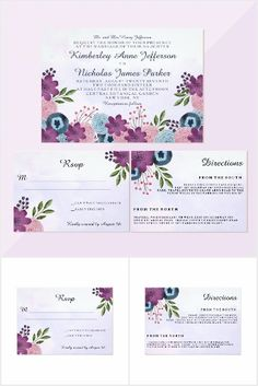 Watercolor Floral Wedding Invitation Suite. This beautiful invitation suite features watercolor flowers in pinks, purples and blues and your wedding details written in modern type. #ad