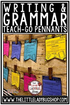 You will love displaying these beautiful Grammar Teach-Go Pennant Posters. These are perfect for your classroom to aid in teaching each of these Language Skills. Focusing on dialogue, punctuation, commas, commas in a series, and more. Perfect for 3rd grade, 4th grade, 5th grade and home school classrooms. #grammarposters #revisingandediting