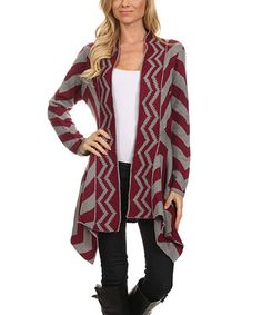 Love this BellaBerry USA Wine & Gray Zig-Zag Sidetail Open Cardigan by BellaBerry USA on #zulily! #zulilyfinds