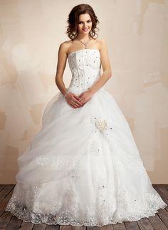 Wedding Dresses - $248.99 - Ball-Gown Strapless Floor-Length Organza Satin Wedding Dress With Ruffle Lace Beadwork Flower(s) (002021817) http://jjshouse.com/Ball-Gown-Strapless-Floor-Length-Organza-Satin-Wedding-Dress-With-Ruffle-Lace-Beadwork-Flower-S-002021817-g21817?ver=xdegc7h0