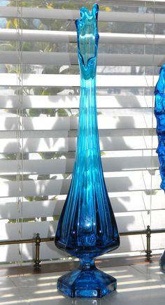 "Vintage Viking Glass Swung Vase Blue 18 1/2"" Mid Century"