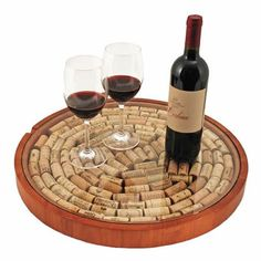 The Lazy Susan Cork Display is a wood Lazy Susan diy serving tray kit that you fill with used wine corks. The Lazy Susan Cork Kit comes assembled - all you do is add the corks and put the glass (real Wine Craft, Wine Cork Crafts, Wine Bottle Crafts, Champagne Cork Crafts, Wine Bottles, Wine Decanter, Wine Cork Projects, Craft Projects, Wood Projects