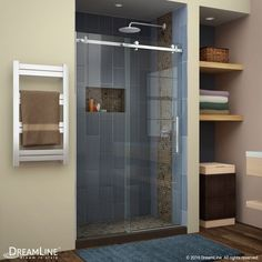 DreamLine Enigma Air 44 in. to 48 in. x 76 in. Frameless Sliding Shower Door in Polished Stainless DreamLine Enigma Air 44 in. to 48 in. x 76 in. Frameless Sliding Shower Door in Polished Stainless Steel Frameless Sliding Shower Doors, Sliding Doors, Barn Doors, Home Depot, Shower Remodel, Brushed Stainless Steel, Shower Base, Glass Shower, Small Bathroom