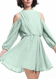 Green Cold Shoulder Long Sleeve Pleated Dress