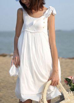 wholesale Catching White Sleeveless Round Neck Knee Length Dress