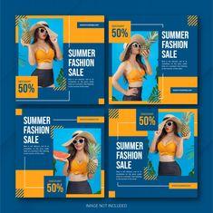 Instagram summer sale post template set | Premium Psd #Freepik #psd #banner #frame #business #sale Social Media Banner, Social Media Template, Social Media Design, Web Banner Design, Web Design, Insta Layout, Instagram Design, Instagram Posts, Timeline Design