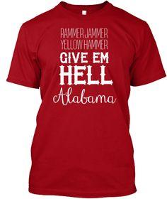 Rammer Jammer Alabama Football Shirt Deep Red T-Shirt Front