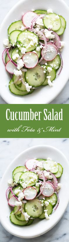 Cucumber Salad with Mint and Feta ~ Using delicate, thin skinned cucumbers, this cucumber salad recipe includes mint, feta cheese, red onions and sliced radishes with a simple oil and vinegar dressing. ~ SimplyRecipes.com