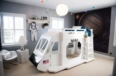 Colin's Outer Space Room, My son loves planets, spaceships, Star Wars, astronomy, and basically anything to do with outer space.  This room is all of those elements combined., This is the space shuttle bed we built from plans ordered on the internet., Boys' Rooms Design
