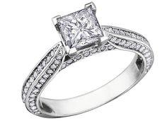 Princess Cut Diamond Engagement Ring 1.0 Carat (ctw) in 14K White Gold, Size 4.5