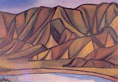 Colin McCahon, Ligar Bay Oil on canvas, 876 x 1259 mm. Landscape Prints, Abstract Landscape, Landscape Paintings, Nz Art, Art For Art Sake, New Zealand Landscape, New Zealand Art, Famous Artists, Artist Art