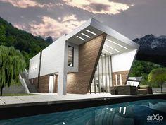Жилой дом: архитектура, 2 эт   6м, жилье, минимализм, 200 - 300 м2, фасад - штукатурка, коттедж, особняк #architecture #2fl_6m #housing #minimalism #200_300m2 #facade_plaster #cottage #mansion