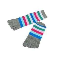 Modern Women Stripe Five Finger Socks Moisture Absorption Sock Ventilation Casual Toe Socks