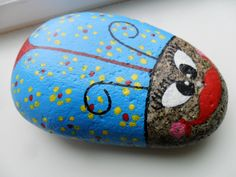 Handpainted Blue BUG ROCK Paperweight Yellow Flowers Abstract Garden Decor Doorstop by KathiJanes on Etsy