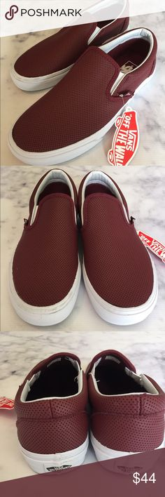"""VANs NWB Perforated Leather Port Slip-ons rich burgundy """"Port"""" new with box perforated leather slip-ons  from Vans. size 9 women's. **no trades** please see close-up photos for faint smudges near trim on toes from try-on in store. Vans Shoes Athletic Shoes"""
