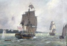 """Geoff Hunt Print - """"Under Fire Off Manhatten"""" From Geoff Hunt's spectacular series of prints depicting dramatic naval actions associated with the War of Independence and the War of 1812. -- on ScrimshawGallery.com #GeoffHunt #Nelson #Navy"""