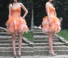 #simple-dress.com #homecoming dress #2015 homecoming dress #strapless dress #A-line dress #party dress #cocktail dress #princess dress #orange homecoming dress