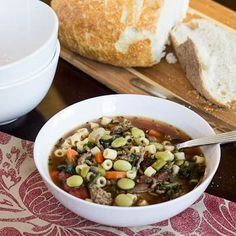 Southern Minestrone! Comfort! I love fusion recipes and here is another one! Ground beef, lima beans, and collard greens give it some extra flair!