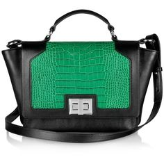 Leonardo Delfuoco Handbags Black and Green Croco-Embossed iPad Bag (1,386 CAD) ❤ liked on Polyvore featuring bags, handbags, purses, genuine leather purse, crocodile leather handbags, ipad purse, green purse and genuine leather handbags