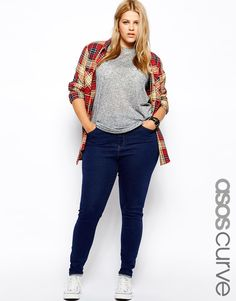 ASOS+CURVE+Ridley+Skinny+Jean+In+Rich+Blue