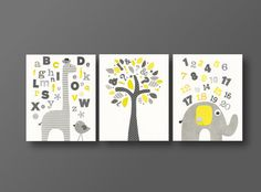 ABC wall art - elephant baby art - Giraffe alphabet - Birds and tree kids decor Yellow gray -set of three prints J'Apprends on Etsy, $42.00