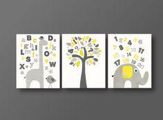 ABC wall art - elephant baby art - Giraffe alphabet - Birds and tree kids decor Yellow gray -set of three prints J'Apprends