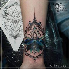 "leelooart: ""cover up #tattoo #ink #ornamental #art #lotus #coverup #cover_up #colortattoo #flower #wrist #femaletattoo (at GReY Art Tattoo Studio) """