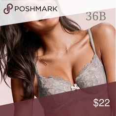 Body By Victoria Unlined Demi FINAL PRICE Grey with Pink Bow Victoria's Secret Intimates & Sleepwear Bras