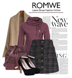 """""""A Line Skirt - with ROMWE"""" by teez-biz-nez ❤ liked on Polyvore featuring Anja"""
