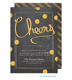New Year's Eve Party invitations chalkboard