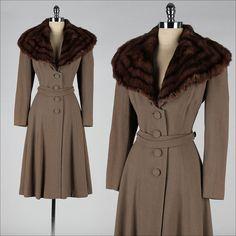 vintage 1940s coat . taupe wool gabardine . by millstreetvintage, $375.00