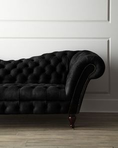 Black Leather Recamier Sofa at Horchow.