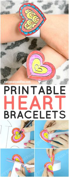 Printable DIY Heart Paper Bracelets for Kids #valentinesdaycraft #papercraftforkids #craftswithtemplate